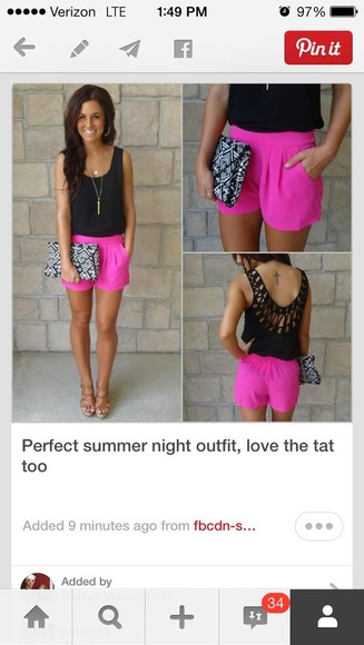 pinterest crochet shorts neon hot pink top bag hair accessories leggings nail accessories girly