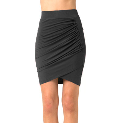 Pencil Grey Draped Skirt | Emprada