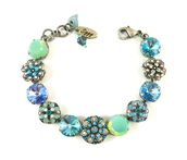 jewels,bracelets,opal,swarovski opal,opal bracelet,mint,turquoise bracelet,opalbracelet,flower bracelet,ornate,intricate flower bracelet,blue crystal bracelet,sparkle,bling,ooak,designer bracelet,designer jewelry,affordable bling,austrian crystal jewelry,swarovski,seafoam green,siggy jewelry,gift ideas,gifts for her
