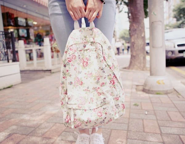 bag backpack floral backpack roses rose fancy