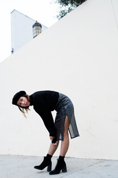 skirt,tumblr,midi skirt,silver skirt,slit skirt,sweater,black sweater,hat,black hat,beret,socks,boots,black boots,ankle boots,high heels boots