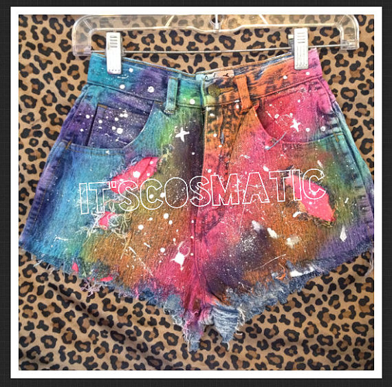 Galaxy shorts rainbow size 2/3 by itscosmatic on etsy
