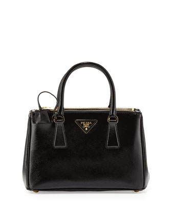 Prada Saffiano Vernice Mini Double-Zip Crossbody Bag, Black (Nero) - Neiman Marcus