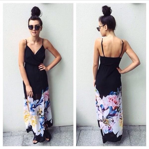 dress maxi dress floral black