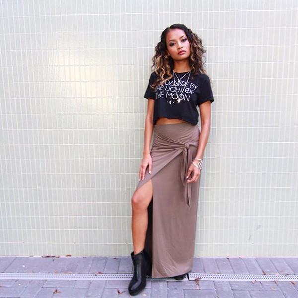 Side Tie Maxi Skirt in Nutmeg | Sweet Rebel