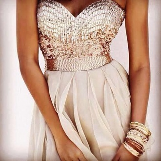 dress gold dress gold sequins white and gold dress prom dress prom gown glitter dress glitter princess dress princess beautiful jumpsuit leggings jewels