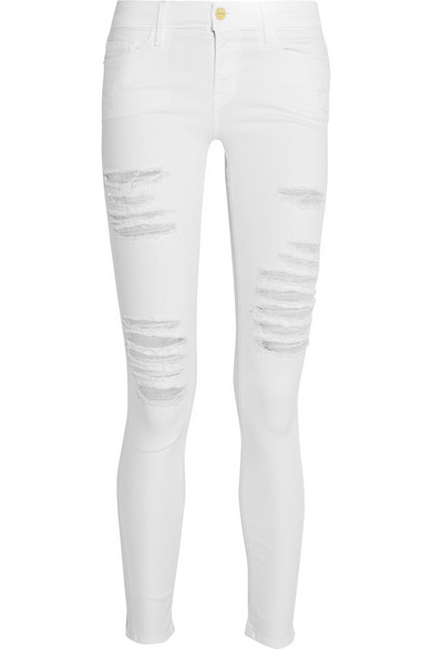 Frame - Le Skinny de Jeanne distressed mid-rise jeans