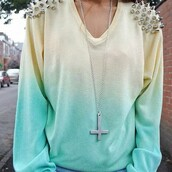 sweater,fashion,spiked sweater,cross necklace,dip dye sweater