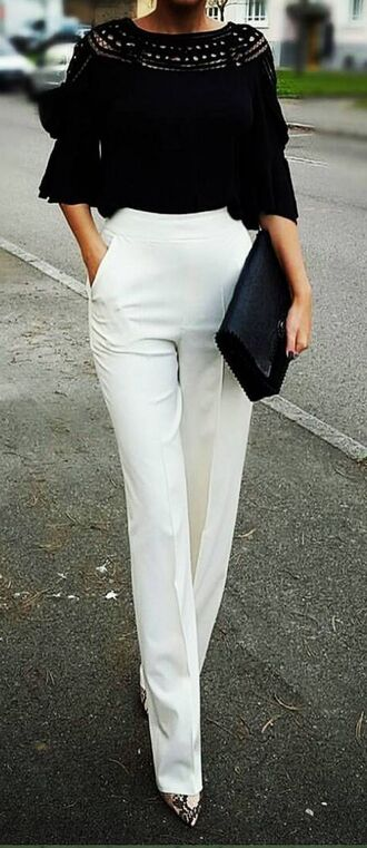 pants white pants high waisted pants pointed toe pumps pumps black blouse blouse bag black bag dress taller tall slimmer petite silk blouses beautiful lifestyle bell bottoms extra inch high waist trousers palazzo pants camisoles sangamvesh style me style business pants straight pants