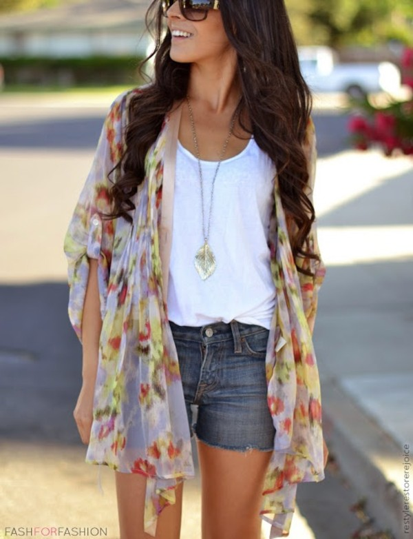 jacket cardigan floral flowers jewels sweater colorful summer loose cover up abstract long