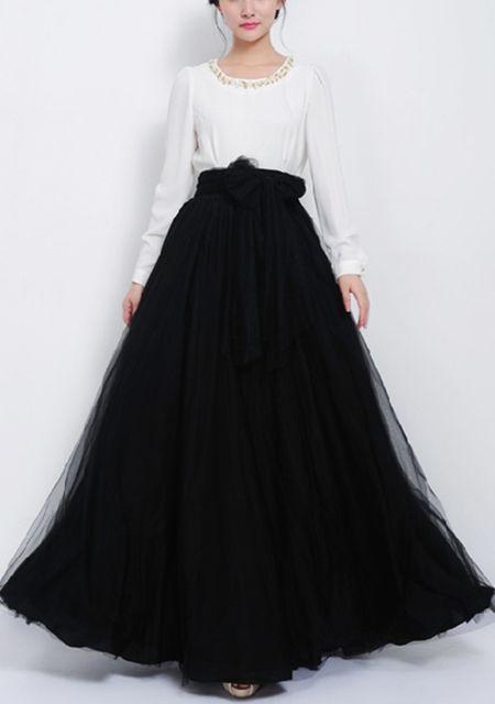 Women's high waist grenadine wide hem long skirt online