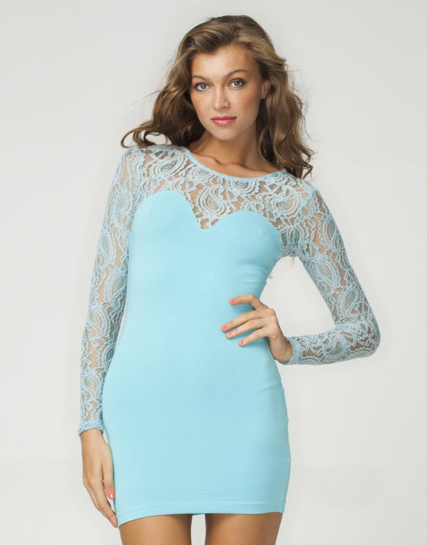 Buy motel elsa bodycon dress in cornflower and silver at motel rocks