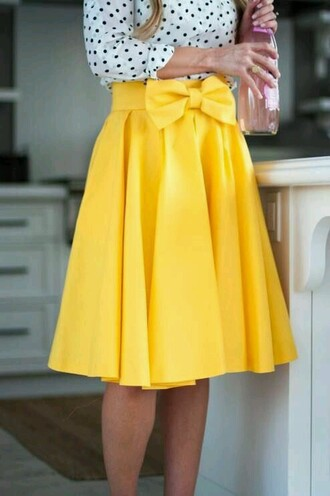 dress skirt yellow bow