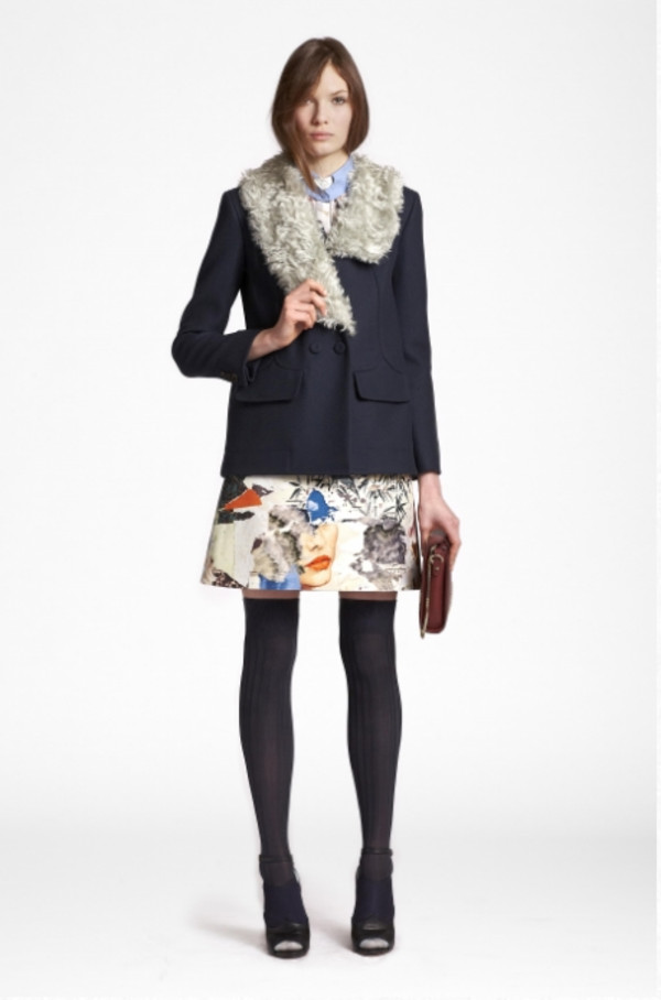 coat lookbook fashion carven skirt shirt