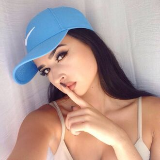 hat blue light blue pastel nike dope eyebrow make-up clothes nude