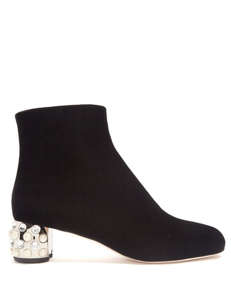 Miu Miu heel velvet boots embellished velvet black shoes