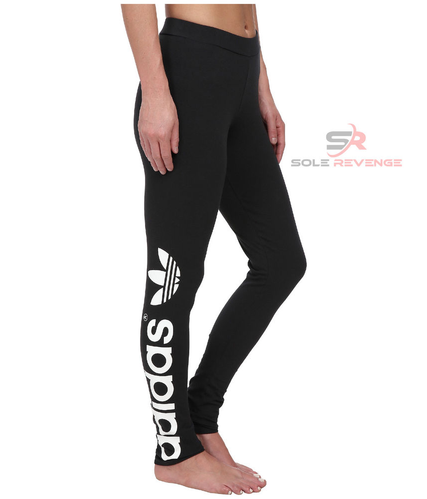 eaebdbbfa72 New Adidas Originals Black Big TREFOIL LEGGINGS Premium Basic ...