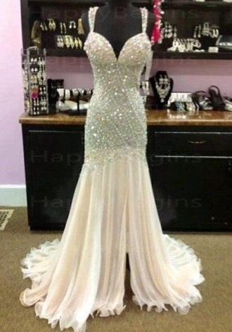 dress white dress sparkles silver prom dress