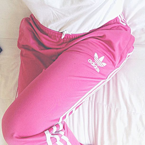 pants adidas pink white street style