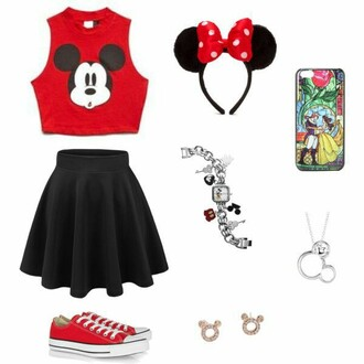 top crop tops red top mickey mouse skirt black skirt skater skirt