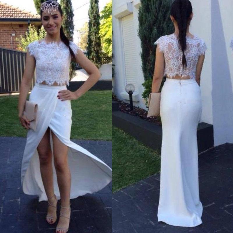 50172ec032abc Evening Long Dresses Two Piece Vintage Cheap 2016 Prom Dresses Party Evening  White Lace High Slit ...