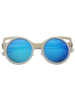 White frame vintage cat eye sunglasses