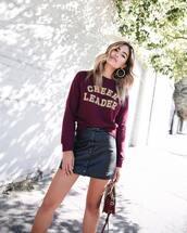 top,tumblr,sweater,sweatshirt,quote on it,skirt,mini skirt,button up skirt,button up,leather skirt