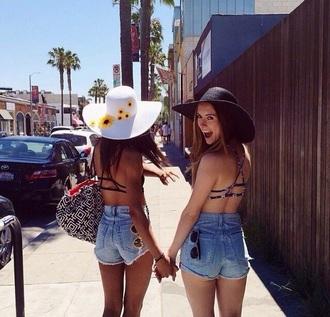 hat white sunflower summer black shorts flowers yellow bff friends girl tumblr