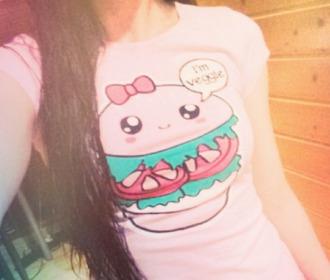 t-shirt lightpink kawaii hamburger