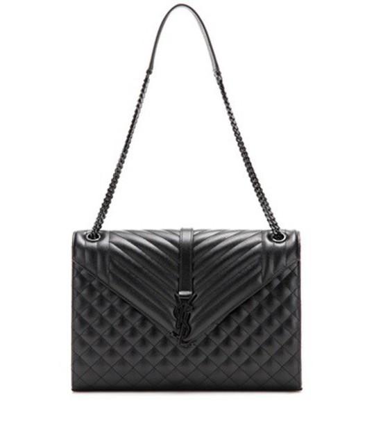 Saint Laurent Classic Large Collège Monogram Leather Shoulder Bag in black