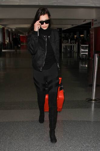 leggings bella hadid all black everything fall outfits bomber jacket