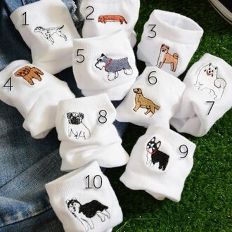 socks white dog fashion cool animal clothing summer teenagers funny boogzel