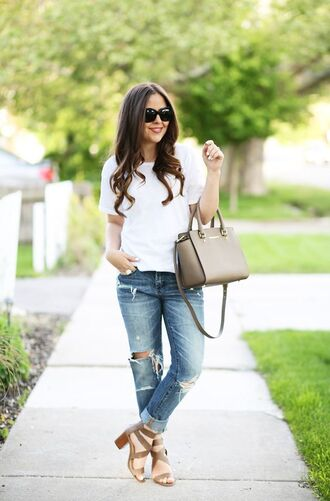 shoes block heel sandals sandals sandal heels khaki sandals jeans boyfriend jeans ripped jeans blue jeans top white top bag michael kors bag khaki bag sunglasses black sunglasses block heels