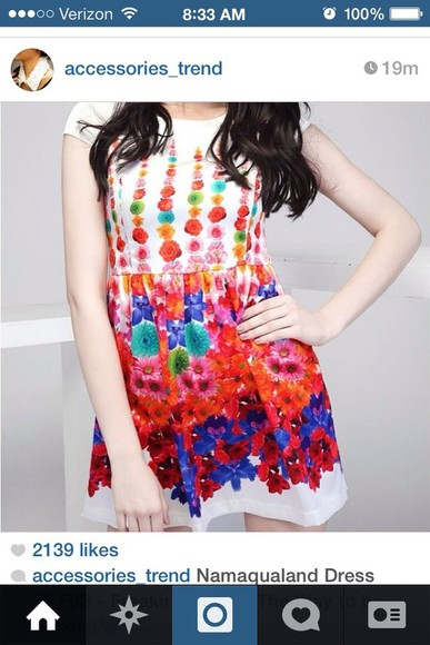 dress rainbow white floral paint