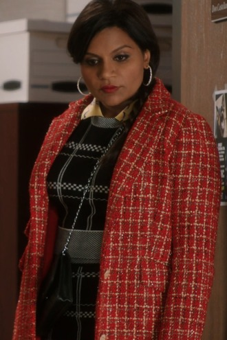 top skirt coat tweed red the mindy project mindy kaling mindy lahiri
