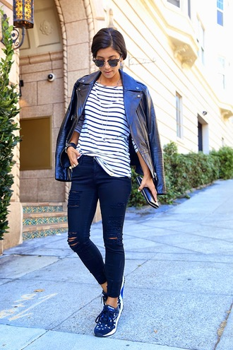 this time tomorrow blogger jacket sunglasses jewels sneakers ripped jeans