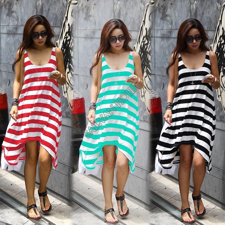 Wholesale and Retail Women Summer Dresses Girl Casual Stripe Irregular Beach Dress Sleeveless Sexy Sundress b7 16368 | Amazing Shoes UK