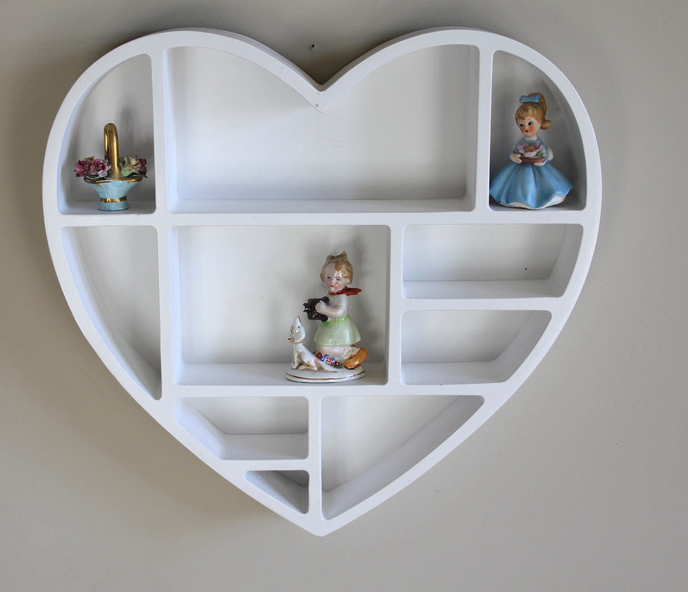 White heart shaped wall shelf bedroom girls kitchen storage office
