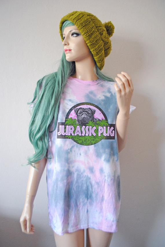 Jurassic pug tie dye t