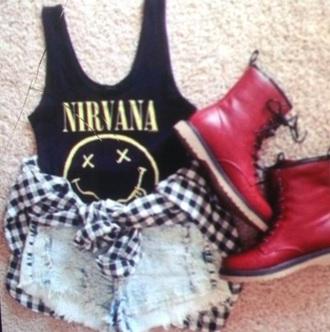 blouse nirvana t-shirt nirvana tank light washed shorts flannel shirt