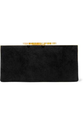 embellished clutch suede black bag