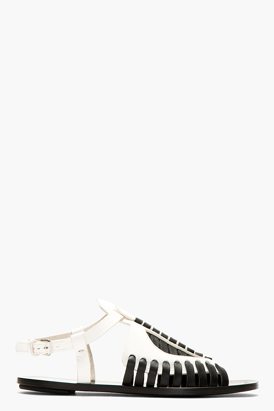 Proenza schouler black and white woven leather flat sandals