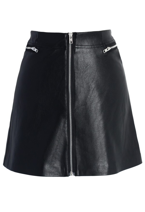 chicwish zipper bud skirt faux leather skirt