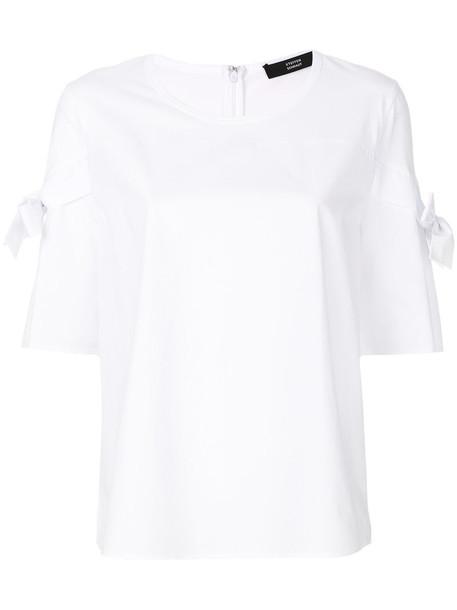 Steffen Schraut top bow women white cotton