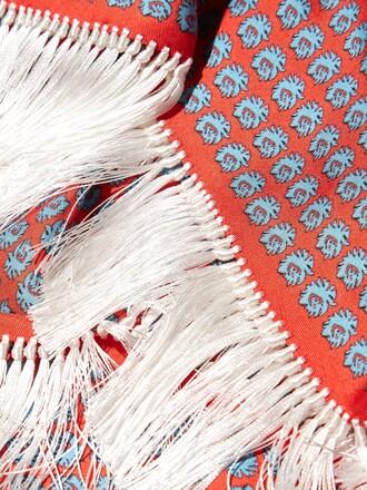 scarf silk scarf balenciaga salmon fringes boho chic