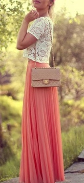 skirt,maxi skirt,lace,brown bag,cross body,summer,cute,outfit,bag,shirt,zara,coral,pink,lace crop top,coral maxi skirt,blouse,summer outfits,top,coral skirt,orange maxi skirt,white lace top,crochet floral short sleeves,hair accessory,nude purse,crochet,short sleeve,nude,chanel like,handbag,peach maxi skirt,floral skirt,peach skirt,pleated skirt,peach,pretty,comfy,beautiful,long skirt,dress,coral skirt maxi,white lace
