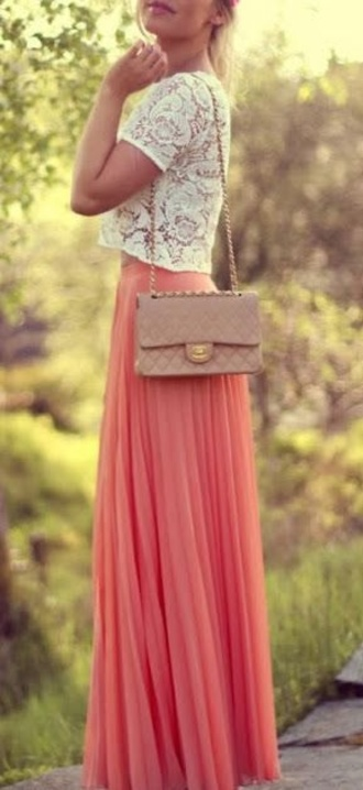 skirt maxi skirt lace brown bag cross body summer cute outfit bag shirt coral pink blouse coral skirt summer skirt peach maxi skirt