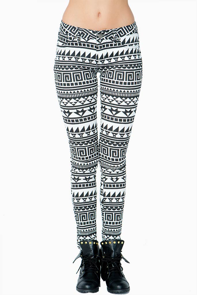 A'GACI Tribal Print Skinny Jean - BOTTOMS