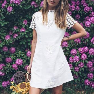 dress tumblr mini dress white dress lace dress short sleeve dress bag handbag summer dress