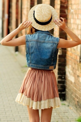 skirt tumblr girl pink skirt circle skirt summer outfits dusty pink denim jacket